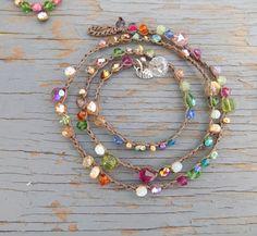 Carmelita crocheted wrap bracelet or necklace, natural jewelry Carmelita crocheted necklace 20 long in dark antique by Sydneyjos Jewelry Model, Wire Jewelry, Boho Jewelry, Beaded Jewelry, Jewelery, Jewelry Necklaces, Handmade Jewelry, Jewelry Design, Summer Jewelry