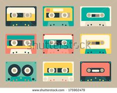 Set of various audio tapes in flat style by Radiocat, via Shutterstock