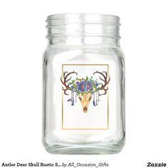Antler Deer Skull Rustic Southwestern Style Mason Jar