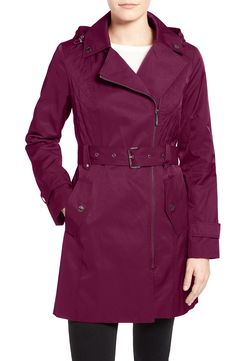 MICHAEL Michael Kors Asymmetrical Hooded Trench Coat
