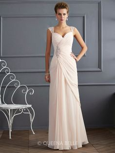 Sheath/Column Straps Beading Sleeveless Floor-Length Chiffon Dresses