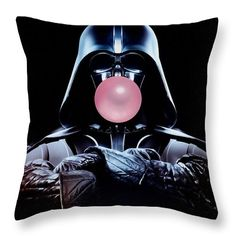 "Darth Vader Star Wars Art Throw Pillow by Marvin Blaine.  Our throw pillows are made from 100% spun polyester poplin fabric and add a stylish statement to any room.  Pillows are available in sizes from 14"" x 14"" up to 26"" x 26"".  Each pillow is printed on both sides (same image) and includes a concealed zipper and removable insert (if selected) for easy cleaning."