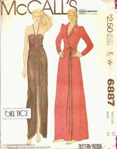 Vintage Sewing Pattern Gown Robe Bill Tice Designer by TenderLane, $20.00...M.Taylor: Love the robe, the gown-not so much
