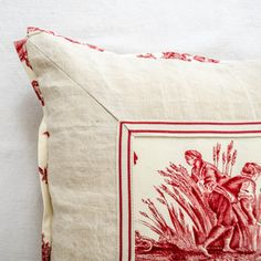 Red Toile and Vintage Linen Pillow . . .