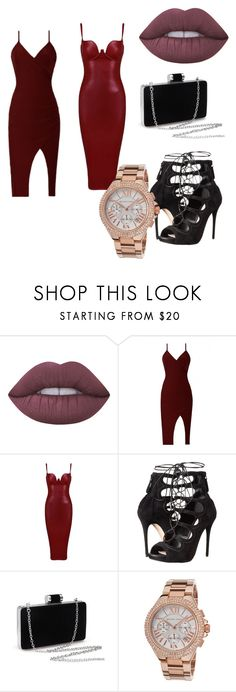 red wine by faffishoniwa on Polyvore featuring Posh Girl, Alexander McQueen, Michael Kors and Lime Crime