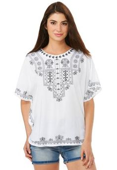 Embroidered Poet Top- Plus