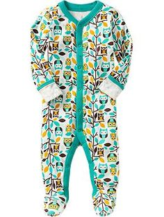OWL BOY STUFF!! AHHHHH!!!! Printed Jersey One-Pieces for Baby