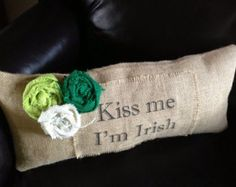St. Patrick's Day Burlap Pillow