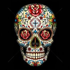 Day of the Dead Sugar Skull With Roses T Shirt Womans T Free Shipping 16553 #AnvilDeltaGildanPort #GraphicTee