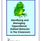 Product provides introduction to Oppositional Defiant Disorder, one of the most difficult behavior to manage in a school setting.****************************************************************Students with this disorder often disrupt entire classrooms. Student Behavior, Classroom Behavior, Special Education Classroom, Classroom Ideas, Defiance Disorder, Oppositional Defiant Disorder, Oppositional Defiance, Self Contained Classroom, Behavior Interventions
