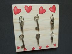 Coat Hooks – wooden wall hanger for the keys decoupage – a unique product by Artfolk on DaWanda