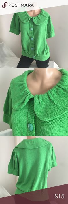 Button Down Vibrant Green Sweater Sz S, M, L,  XL The tag says XL but since it fits my mannequin I think it would fit better on anyone who likes Loose clothing or is busty from S to L or an XL with small shoulders. There are No picks. Fever Sweaters Cardigans