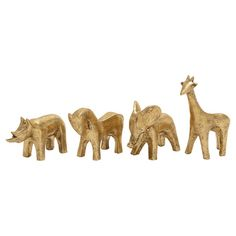 Showcasing glimmering metallic finish and eye-catching animal silhouettes, these statuettes are perfect for creating a playful focal point on the console tab...