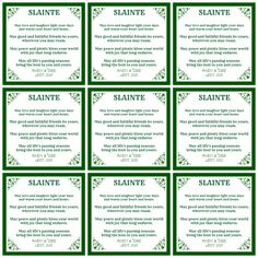 Irish blessing...place setting cards