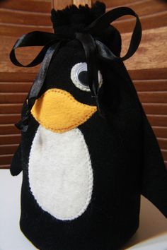 hilarious penguin drawstring bag (with tutorial)