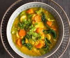 Healthy Soup, Kids Meals, Curry, Food Porn, Food And Drink, Low Carb, Cooking Recipes, Yummy Food, Vegan