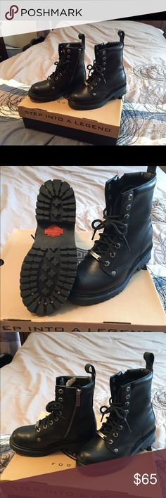 Woman's Harley Davidson bike boots Black Harley Davidson bike boots are brand new still in the box. Sit just above the ankle. Harley-Davidson Shoes Ankle Boots & Booties