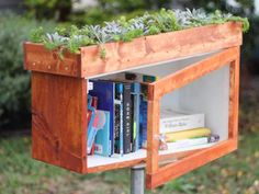 Little free libraries are popping up in neighborhoods everywhere. DIY Network shows you how to build a library box so you can share your favorite books with your neighbors and encourage kids to read. Little Free Library Plans, Little Free Libraries, Little Library, Green Library, Mini Library, Little Free Pantry, Library Design, Library Ideas, Library Art