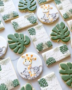 Leaf Cookies, Baby Cookies, Baby Shower Cookies, Giraffe Cookies, Sugar Cookies, Baby First Birthday Cake, Wild One Birthday Party, Baby Shower Desserts, Baby Shower Themes