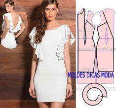 Veja a publicação completa no site. Diy Clothing, Sewing Clothes, Clothing Patterns, Dress Patterns, Fashion Sewing, Diy Fashion, Ideias Fashion, Fashion Dresses, Fashion Details
