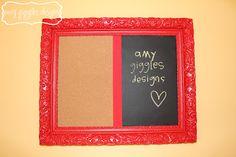 framed cork / chalk board