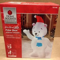 Santa Hat Polar Bear Gemmy Christmas Airblown Inflatable LED Holiday Yard Decor