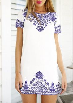 Short Sleeve Vintage Blue And White Print Pattern Dress -SheIn(Sheinside) Mobile Site