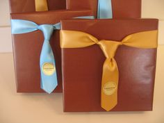 "Bow ""Tie"" Wrapping for Father's Day - Make a ribbon ""tie"" in lieu of a classic bow to top a Father's Day gift."