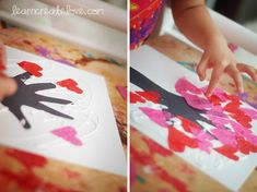 Tree of Love craft - Handprint & wrist tree, tissue paper heart leaves.