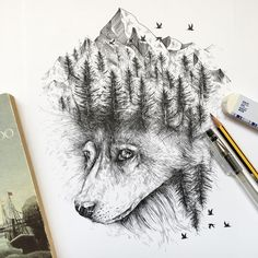 """culturenlifestyle: """" New Dark Ink Pen Illustrations Depict Animals And Nature In Magical Lore Italy-based illustrator Alfred Basha draws small black ink pen scenes that narrate scenes of animals and..."""