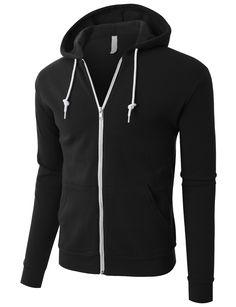 LE3NO PREMIUM Mens Lightweight Soft Fleece Full Zip Up Hoodie Jacket