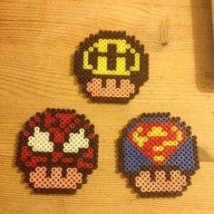 Mario mushrooms hama beads by marias_hamabeads