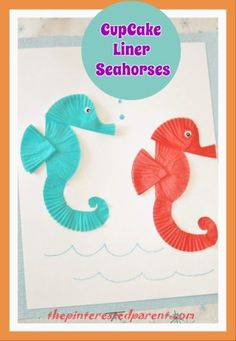 Cupcake Liner Seahorses It has been a rough week in our home. I had gall bladder surgery this week & have been sore & very tired. After several days of lying around on the couch, I am…Continue Reading… Seahorse Crafts, Seahorse Art, Ocean Crafts, Fish Crafts, Beach Crafts, Summer Crafts, Nature Crafts, Projects For Kids, Crafts For Kids