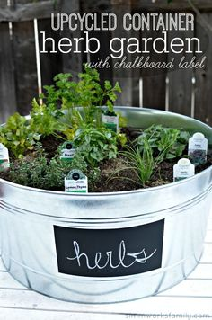 Upcycled Container Gardens: Housing Your Herbs #GreenDIY #EarthDay AD