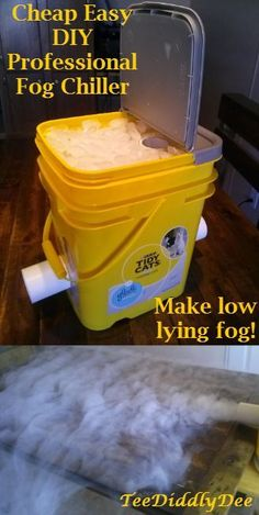 Make spooky low lying fog with a DIY replica of an expensive professional fog chiller. You do need a regular fog machine to do this, but the effect is amazing for Halloween.