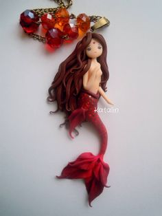 OOAK Mermaid doll polymer clay FIMO necklace, entirely handmade, no painting. By Katalin Handmade (2013)