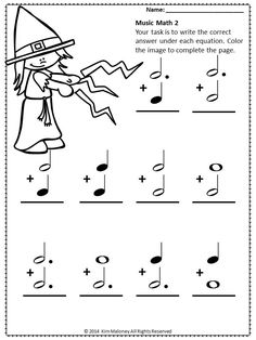 24 Halloween music math worksheets aimed at reinforcing students' understanding and knowledge of note and rest values