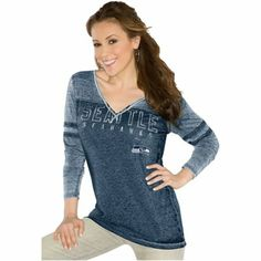 Touch by Alyssa Milano Seattle Seahawks Ladies Gridiron Long Sleeve  Tri-Blend Slim Fit V 5b350a60b