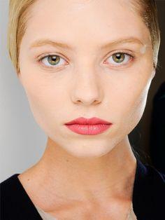 Rose-petal lips at Jil Sander, Chanel Rouge Allure Velvet Lipstick in L'Élégante
