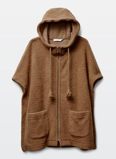 This cozy poncho is designed with an easy zip front and drawstring hood that's accented with oversized tassles. It has dolman sleeves, large pockets at the hip, and is made with a heavy wool blend with a textural look and felted hand feel. Wool Blend, Hoodies, Capes, Sweaters, Clothes, Art, Fashion, Cape Clothing, Outfit