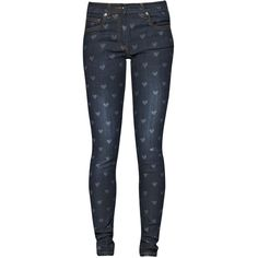 Great Plains Love Heart Skinny Jeans ($99) ❤ liked on Polyvore featuring jeans, bottoms, pants, blue, women, skinny jeans, patterned jeans, great plains, print jeans y mid-rise jeans