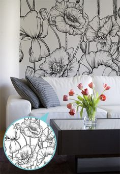 Lovely neutral tones in this living space compliment our Black and White Illustrated Flower Mural. Looks so sleek and sophisticated.