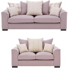 Ideal Home Cotswold 3 Seater + 2 Seater Fabric Sofa Set (Buy And... (£1,099) ❤ liked on Polyvore featuring home, furniture, sofas, striped couch, gray sofas, grey sofa set, grey couch and striped sofa