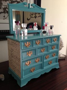 Antique Jewelry Box Dresser Style Hand Painted and Decoupaged In French Script Turquoise - Wow...gorgeous. $115