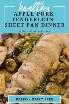 This Apple Pork Tenderloin Sheet Pan Dinner recipe is the perfect healthy, one pan meal. With a maple & mustard marinade, and delicious vegetable sides all on one pan, this paleo meal is a great recipe all year round! Clean Eating Guide, Easy Clean Eating Recipes, Healthy Gluten Free Recipes, Healthy Dinner Recipes, Lunch Recipes, Healthy Dinners, Slow Cooked Pulled Pork, Cooking Pork Tenderloin, Vegetarian Side Dishes