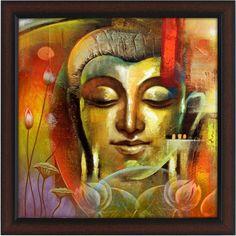 Budha Painting, Ganesha Painting, Painting Canvas, Religious Paintings, Indian Art Paintings, Budha Art, Buddha Artwork, Inspiration Artistique, Buddha Face