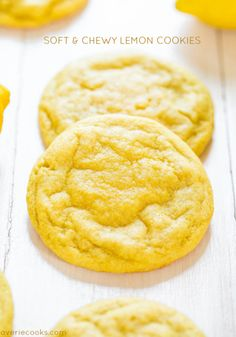 Soft and Chewy Lemon Cookies - Packed with big, bold lemon flavor for all you lemon lovers! They're soft, chewy and not at all cakey!