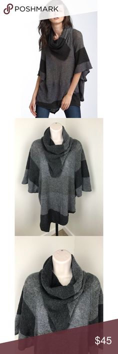 Joie Cashmere Wool Poncho Sweater Pullover Joie poncho sweater Size medium Gray and black in color 50% wool, 50% cashmere Soft material with some stretch Cowlneck style GREAT condition! Joie Sweaters Shrugs & Ponchos