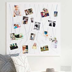 You'll be all smiles making this modern-day version of a bulletin board. Customize the size, fabric, and string design to create a playful display with just a few standard tools. Use a staple gun to cover medium-density fiberboard with white felt and fabric. Create rows of tacks and wrap string around each one to create a web. Place photos behind the string, and display.