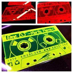 Tarjetas de visita grabadas y cortadas láser en metacrilato flúor para EME DJ Business cards shaped cassette cut and engrave laser in fluorine methacrylate for EME DJ #747digital #businesscards #tarjetasdevisita